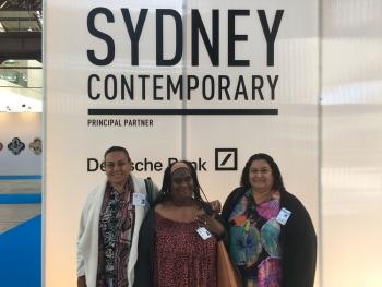 Artists Daphne de Jersey, Sandra Ase and Margaret Mara at the Arts Fair