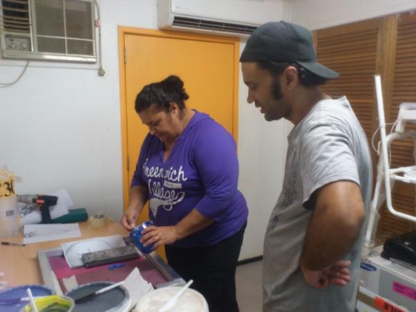 samuel tupou printing workshop 2, with Margaret Mara