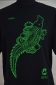 Kambal Design, Green print on black shirt