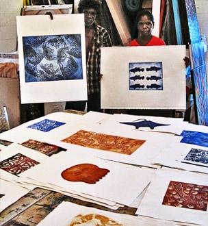 Pormpuraaw Art & Culture Centre artists display their artwork
